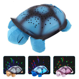 sleep lamp music UK - New Creative Turtle LED Night Light Luminous Plush Toys Music Star Lamp Projector Toys for Baby Sleep 3 Colors