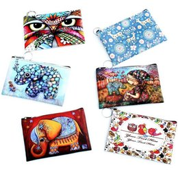$enCountryForm.capitalKeyWord Canada - NEW owl elephant printing Coin purse Leather key holder wallet hasp small Christmas gifts bag clutch handbag