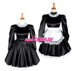 Barato Vestidos De Sissy Lockable-New Arrival Sissy Maid vestido de cetim Lockable Dress Maid Uniform Lace Up Cosplay Costume Anime Costume