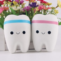 teeth phone 2019 - Wholesale- New 11cm Kawaii Tooth Jumbo Squishy Slow Rising Phone Straps Cartoon Teeth Blue Pink Tooth Bread for Phone Mp