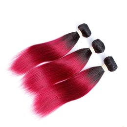 Discount 12 inch human hair two tone - Two Tone Black To Red Human Brazilian Virgin Hair Silk Straight Red Ombre Hair Bundles 3Pcs Lot Grade 8A High Quality Ch