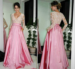 $enCountryForm.capitalKeyWord Canada - Sparkle Evening Dresses long sleeves empire waist A line satin shiny lace top seqins V neck sweep train party gowns prom dressess