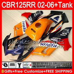 Cbr125 Fairing Australia - 23Colors Body +Tank For HONDA CBR125 R Repsol orange CBR 125R 125RR CBR125R 02 03 04 05 06 80NO49 CBR125RR 2002 2003 2004 2005 2006 Fairing