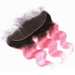 $enCountryForm.capitalKeyWord UK - T1b Pink Two Tone Ombre Lace Frontal Closure Body Wave Brazilian Peruvian Indian Malaysian Virgin Human Hair With Baby Hair Bleached Knots