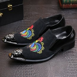 Cow Dress Canada - High Quality Chicken 2017 Men Fashion Brand Shoes Pointed Slip On Toe Office Dress Shoes Men Cow Real Leather