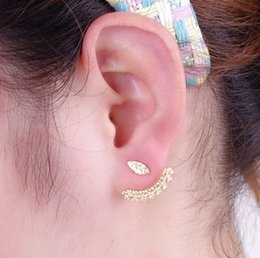 gold leaf cuff NZ - Leaf Back Ear Cuffs Stud Earring Silver Gold Filled Piercing Ear Wraps Double Sided Swing Stud Earrings