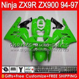 KawasaKi ninja zx9r 1997 online shopping - 8Gifts Colors For KAWASAKI NINJA ZX900 ZX9R CC HM23 gloss green ZX R ZX900C ZX R ZX R Fairing kit