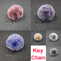 cute fur animal keychain Canada - Cute Pom Pom Keychain Bag Purse Charm Silver Ring Fluffy Fur Ball Faux Rabbit Fur Key Chain FBA Drop Shipping B554Q