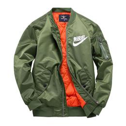 Al por mayor-MA1 chaquetas piloto kanji negro verde vuelo japonés MERCH BOMBER MA-1 Chaquetas Chaquetas cremallera ropa masculina outwears más el tamaño 4XL