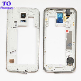 SamSung galaxy S5 partS online shopping - 50pcs LCD Middle Plate Housing Frame Bezel Camera Cover Replacement parts For Samsung Galaxy S5 G900F G900M G900H G900A G900V G900T