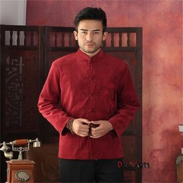Largo Tang Baratos-Al por mayor-venta caliente rojo chino Tradition Kung Fu hombres manga larga bordar Dragon Coat Tang traje S M L XL XXL XXXL