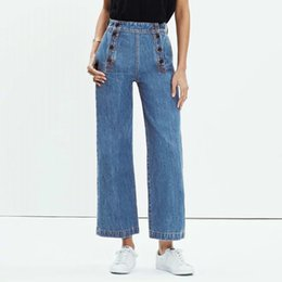 Pantalons Larges À Pattes Larges Pas Cher-Vente en gros - Stylish Washed Double-breasted Wide Leg Denim Pants Trendy Women Slim Cheville-Longueur Jeans Pantalons Casual Loose Pants femme Blue