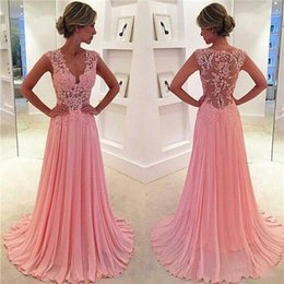 Barato Meninas Sexy Vestidas De Renda-Vintage Blush Pink Evening Prom Dresses A Line Chiffon Lace Appliques Raining V Neck Sexy Sheer Girls Party Vestido formal