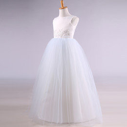$enCountryForm.capitalKeyWord NZ - Satin Tulle Flower Girl Dress Floor Length 2018 Jewel Neck Communion Dresses Kids Party Dress Fast Shipping
