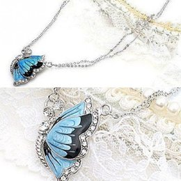 Wholesale Fashion Necklaces For Women Charm Rhinestone Butterfly Pendant Necklace Blue Dual Chain Jewelry