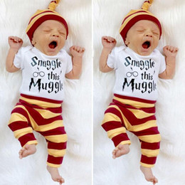 Wholesale INS Baby Clothing Sets Infant Letter Bodysuit Stripe Pants Hat Newborn Outfits Clothes Sets Snuggle this Muggle Printing DHT196