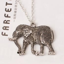 Discount crystal sculptures - Women fashion jewelry retro sculpture long nose elephant diamond long necklace charm statement pendant necklace gift
