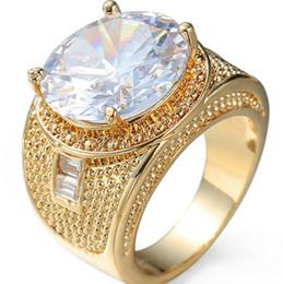 Moda simple chapado en oro anillo de circón blanco Hombres y mujeres Partido Joyería tamaño 6 7 8 9 10