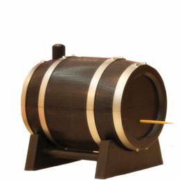 1 ADET Yaratıcı Meşe Şarap Varil Tipi Otomatik Kürdan Tutucu Basın Kova Dağıtıcı Diş Çekme Pamuklu Çubukla Vaka kutu Siyah O 0336