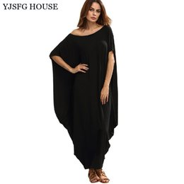 Barato Casual Vestido Preto Longo Praia-YJSFG HOUSE Plus Size Summer Irregular Long Party Dresses Casual Loose 2017 Summer Boho Beach Dress Casual Mulheres Vestidos Preto q170669