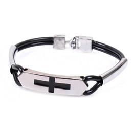 $enCountryForm.capitalKeyWord UK - 12pcs lot PU Religious Concise Cross Bracelets Christian Link Chain Double tube alloy Wristbands European Jesus Bracele Jewelry Free shippin