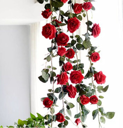 hanging decorative vines UK - NEW 1.8M Fake Artificial Red Rose Hanging Garland Home For Wedding Home Pink White Decorative Flowers free shipping MYY