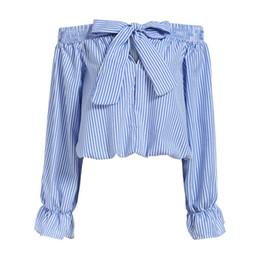 $enCountryForm.capitalKeyWord UK - Wholesale-Hot Women Off The Shoulder Tops Bow Vertical Striped Vogue Summer Feminine Long Sleeve Slash Neck Blue Crop