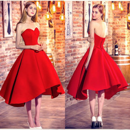 $enCountryForm.capitalKeyWord Canada - Latest 2017 Red Satin Sweetheart Short Prom Dresses A-line Cheap Lace Up Back Tea Length Party Evening Gowns Custom Made China EN12164
