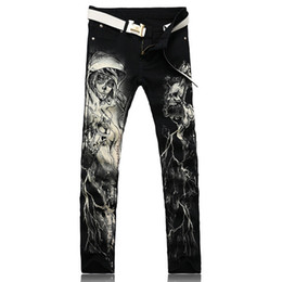 Wholesale-Men's fashion skeleton skull printed jeans Male slim fit black denim pants Long trousers