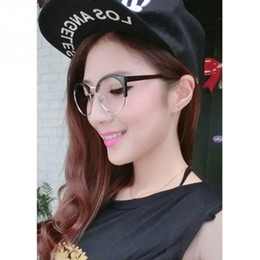 hipster eye glasses 2019 - Wholesale- 2016 Hipster Oculos Fashion Eyeglasses Women Glasses Of Sexy Cat Eye Metal frame Plain Glass Spectacles Oculo
