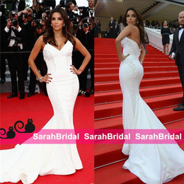 $enCountryForm.capitalKeyWord Canada - New Eva Longoria Cannes Celebrity Dresses 2019 formal 12y White long V-neck special occasion mermaid style fairy pageant dresses for women