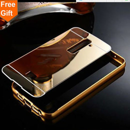 Aluminum Phone Case Wallet NZ - Luxury Gold Plating Armor Aluminum Frame + Mirror Acrylic Case For LG Optimus G2 D802 D801 Back Cover phone bags For LG G2
