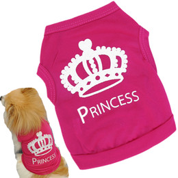 facf642691b5 100% Cotton Dog Cloth Pet Cat Princess Vest Summer Puppy Spring Diamond  Crown T-shirt Party Dressing Up Dogs Clothes 15