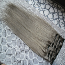 venda por atacado extensões de cabelo cinza clipe em extensões de cabelo humano 100g 7 pçs / lote extensões de cabelo humano em linha reta cinza