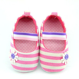 baby girl summer canvas shoes UK - Wholesale- New StylishNewborn Baby Girls Flower Cotton Shoes Soft Soled Striped Crib Shoes Age 0-18M New