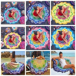 Barato Lotus Impresso-7 Designs 150 * 150cm Tassel Indian Mandala Tapestry <b>Lotus Printed</b> Bohemian Beach Towel Yoga Mat CCA5686 50pcs