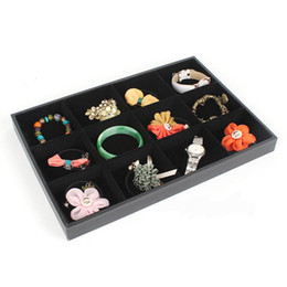 Wholesale LARGE 12 slot storage JEWELRY TRAY WOODEN VELVET COVERED BLACK