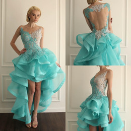 Barato Vestido Turquesa De Renda Fina-Jewel Sheer Neckline High Low Short Homecoming Vestidos Turquoise Prom Gowns Com Lace Applique Backless Ruffles Cocktail Gowns Custom Made