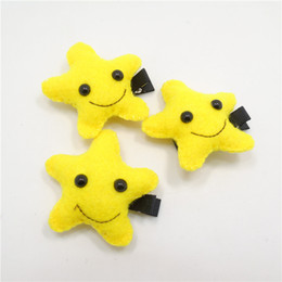 New Moon Clips Canada - 10pc lot Smile Yellow Moon Star Hair Clip Smiley Puffy Cotton Starfish Toddler Hair Barrette Girl New Chic Boutique Cute Hairpin