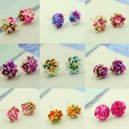 cute jewelry for sale Canada - Hot Sale New 11 Styles Earrings for Women Fashion Jewelry Stud Earring Colorful Resin Flowers Earrings Cute Hypoallergenic