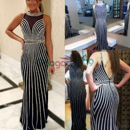 dress open one side 2019 - Real Photos Bling Crystal Beaded Mermaid Prom Dresses 2019 Halter Deep V Open Back Sheer Illusion Long backless Party Ev