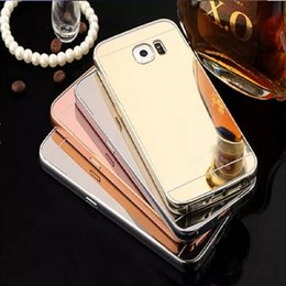 Discount galaxy s5 metal bumper Luxury Mirror Bling Case+Aluminum Bumper Frame For Smart Phone Cell Phone Samsung Galaxy S7 S6 S5 Note 5