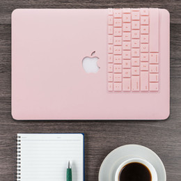 Venta al por mayor de Estuche rígido mate de cuarzo rosa + funda para teclado para Macbook Pro 13 SIN barra táctil