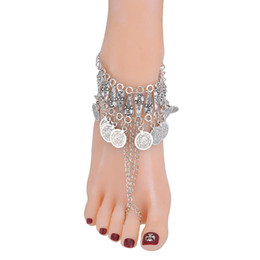 Barefoot Sandals Feet UK - Boho Coin Anklet Wedding Foot Jewelry Chain Barefoot Sandals Beach Foot Bracelet For Women