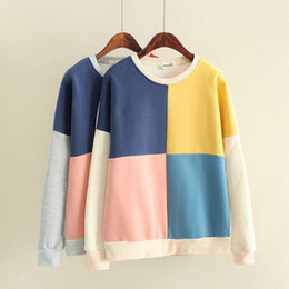 drop blocks Canada - S16-2017 spring women comfy fall block four-colors sweater loose plus velvet thick cotton fight color stitching, support drop shipping