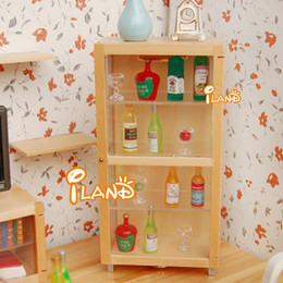 Rement Furniture Australia - G05-X4623 children baby gift Toy 1:12 Dollhouse mini Furniture Miniature rement wooden wine cabinet with LED light 1pcs