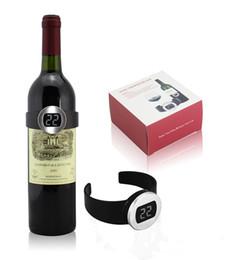 Electrónica LCD digital Termómetro de botella de vino tinto Medidor de temperatura reloj de vino digital Termómetro de botella Herramientas de vino en venta