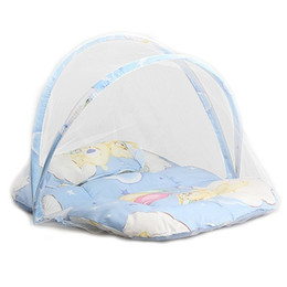 Barato Rendas Berço Cama-Venda Por Atacado - Bebê Infantil Portátil Folding Travel Bed Berço Netting Mosquito Tent Lace Cute Infant Newborn Bedding Net With Pillow