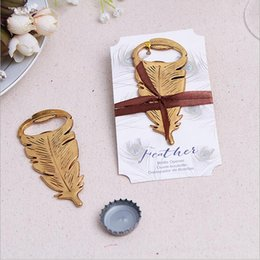$enCountryForm.capitalKeyWord NZ - Wedding favors baby shower gift gold metal Peacock feather beer Bottle Opener Party Decoration Antique Leaf Bottle Opener+DHL Free Shipping