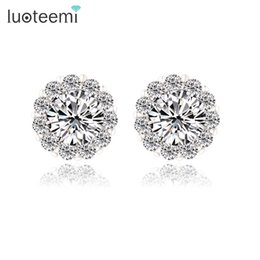 Pure gold stud online shopping - Simple Lovely Flower High Quality Stud Earrings with Stones White Gold Color Pure Cubic Zirconia Jewelry Factory LUOTEEMI